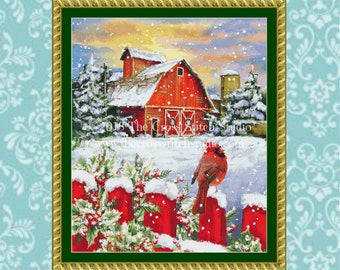 Barn Cross Stitch Pattern LARGE, Vintage Christmas, Winter Decor