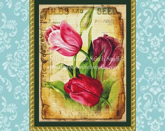 Tulips Cross Stitch Pattern, Vintage Seed Packet