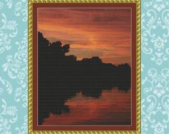 Michigan Sunset Cross Stitch Pattern