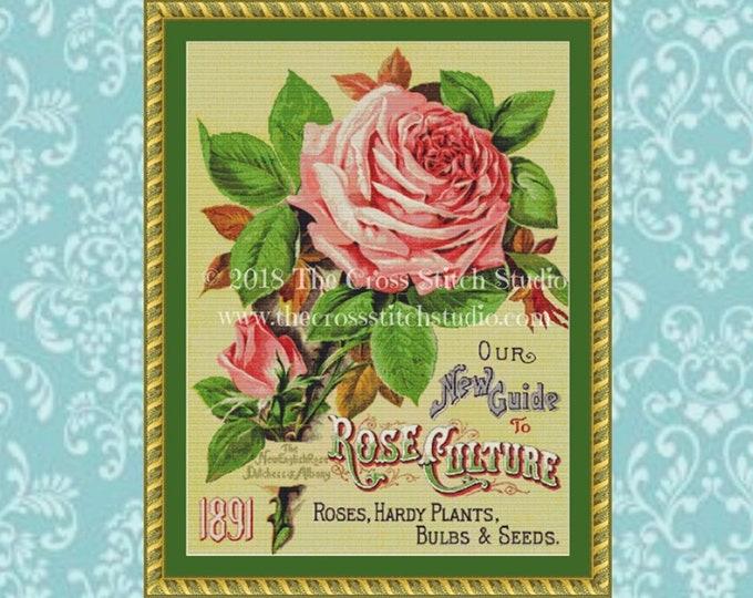 1891 Pink Rose Cross Stitch Pattern
