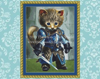 Drake Warrior Kitty Cross Stitch Pattern
