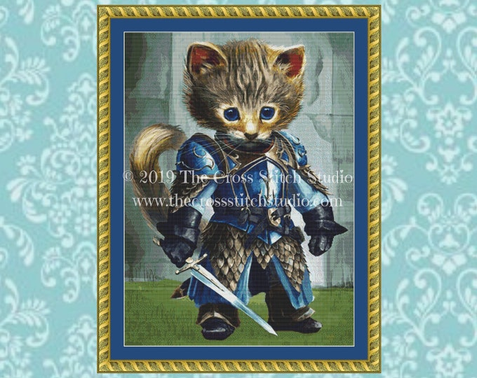 Drake Warrior Kitty Cross Stitch Pattern