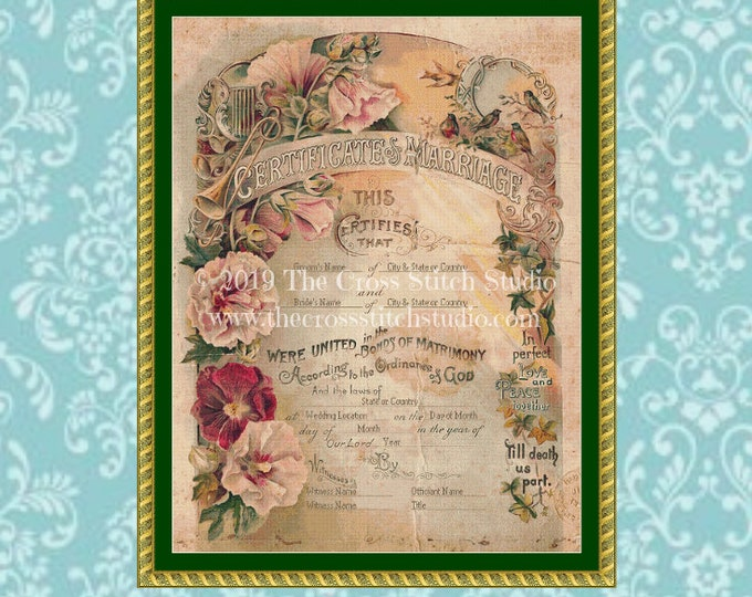 Victorian Marriage Certificate Cross Stitch Pattern  PERSONALIZED