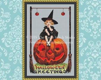 Pumpkin Girl Cross Stitch Pattern