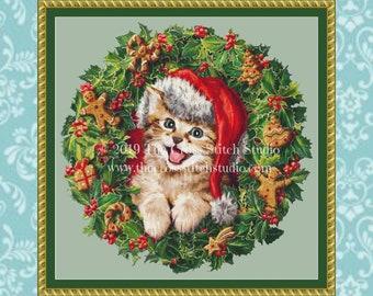 Kitten in Wreath Cross Stitch Pattern