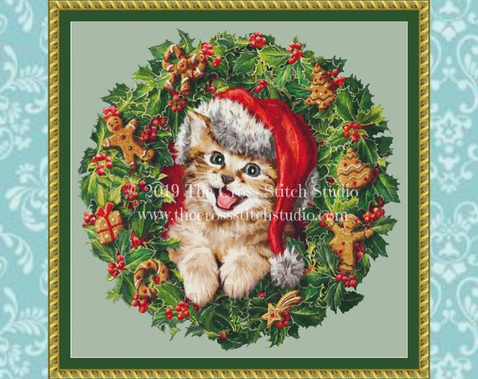 Kitten in Wreath Cross Stitch Pattern