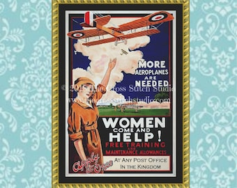 Women Come and Help Cross Stitch Pattern