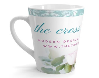 Blue Floral Cross Stitch Mug