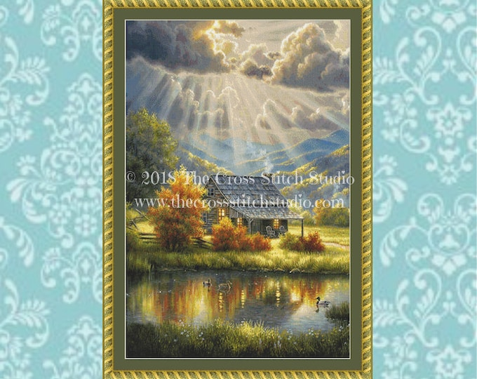 God Shed His Grace Cross Stitch Pattern MEDIUM
