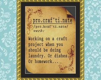 Procraftination Cross Stitch Pattern