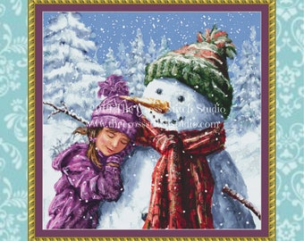 Snowman Cross Stitch Pattern LARGE, Christmas Decor