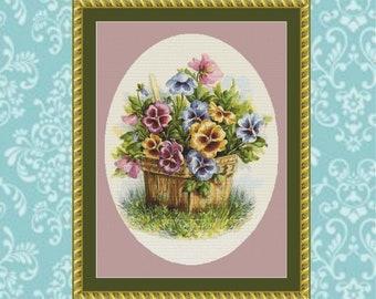 Basket of Pansies Cross Stitch Pattern