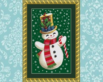 Smiling Snowman Cross Stitch Pattern