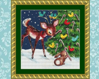 Fawn and Bunny Christmas Cross Stitch Pattern (Cropped)