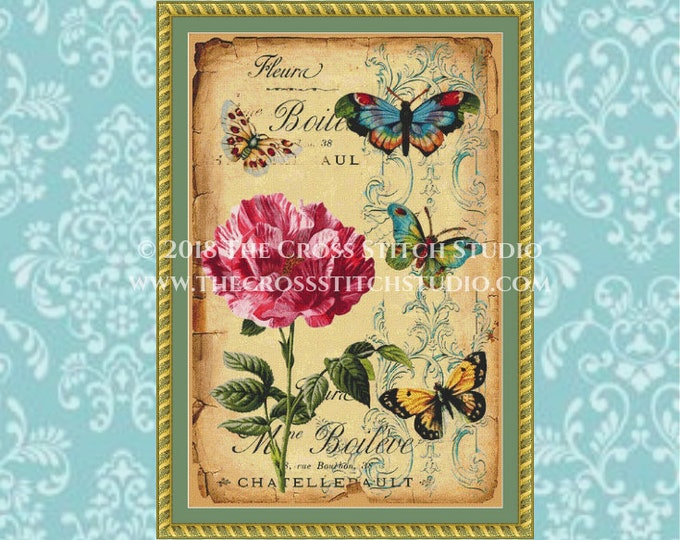 Floral Butterflies Cross Stitch Pattern