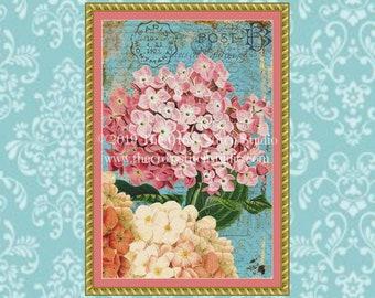 Hydrangeas Postcard Cross Stitch Pattern