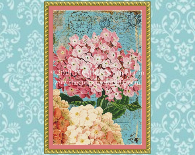 Hydrangeas Postcard Cross Stitch Pattern