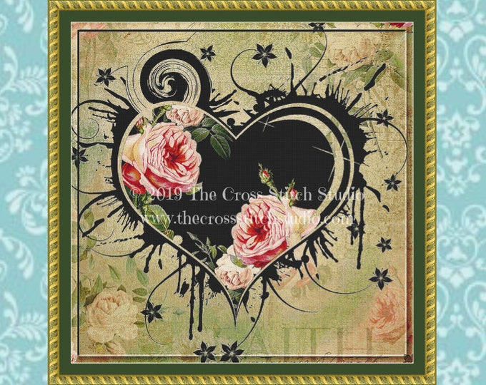 Hearts and Roses Cross Stitch Pattern