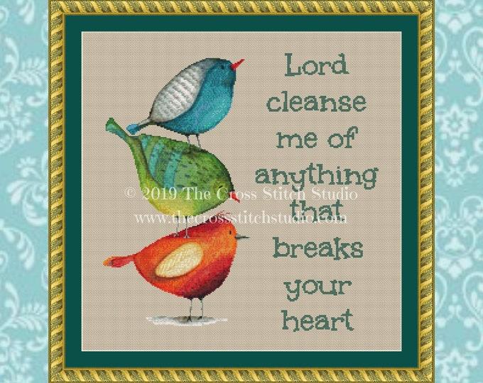 Lord Cleanse Me Cross Stitch Pattern