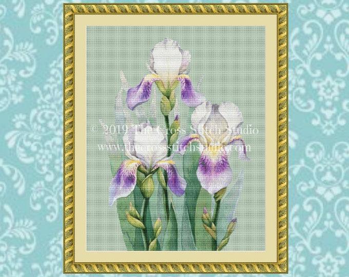 Trio of Irises Cross Stitch Pattern
