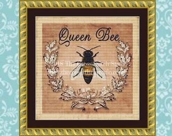 Bee Cross Stitch Pattern, Vintage Rustic Decor