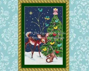 Christmas Cross Stitch Pattern LARGE, Woodland Animals, Deer and Rabbit