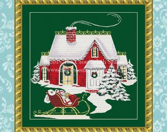 Christmas Cottage Cross Stitch Pattern, Vintage, Santa Claus