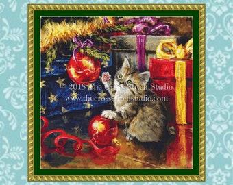 Cat Cross Stitch Pattern, Christmas Ornament, Holiday Decor