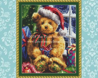 Christmas Teddy Bear Cross Stitch Pattern - SMALL, Christmas Gift, Embroidery Designs
