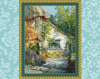 Cottage Cross Stitch Pattern, Vintage English Garden