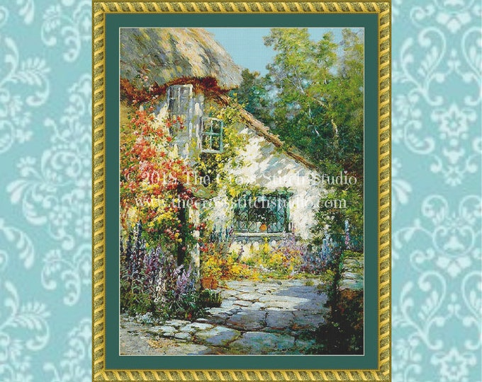 Wildflower English Cottage Cross Stitch Pattern