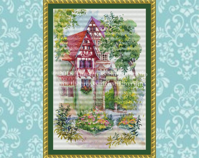 Tudor Watercolor Cottages Cross Stitch Pattern