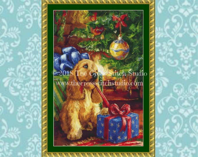 Puppy Under the Tree Cross Stitch Pattern