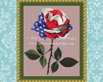 Rose Cross Stitch Pattern, Red White and Blue, American Flag