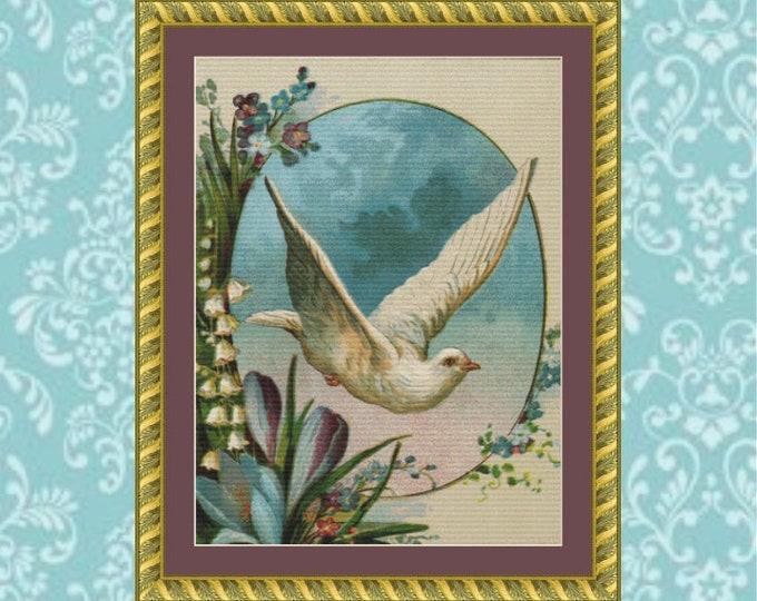 Dove in Flight Cross Stitch Pattern