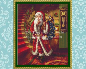 Santa Cross Stitch Pattern LARGE, Vintage Christmas Decor