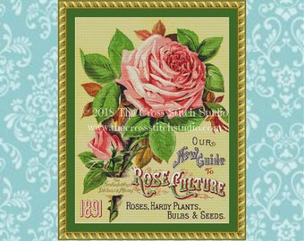 Rose Cross Stitch Pattern, Vintage Seed Packet