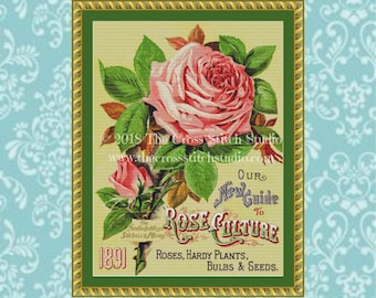 Pink Rose Cross Stitch Pattern, Vintage Seed Packet