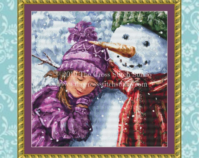 Snowman Hugs Cross Stitch Pattern SMALL