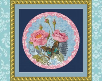 Butterfly and Roses #2 Cross Stitch Pattern