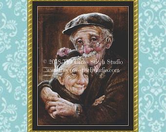 Old People Cross Stitch Pattern LARGE