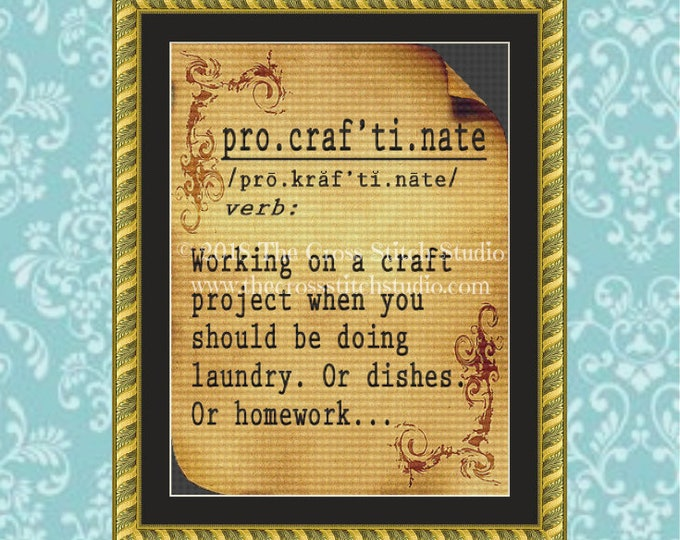 Procraftination Cross Stitch Pattern