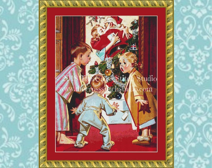 Mommy Kissing Santa Claus Cross Stitch Pattern