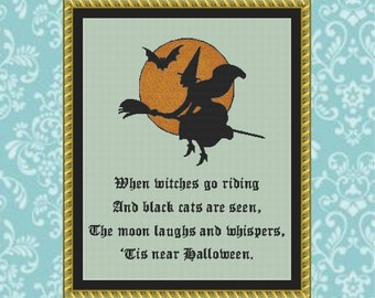 Halloween Witch Cross Stitch Pattern