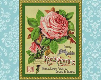1891 Pink Rose Cross Stitch Pattern