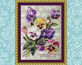 Pansy Cross Stitch Pattern, Vintage Seed Packet