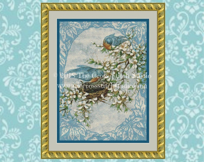 Bluebirds in Spring Cross Stitch Pattern