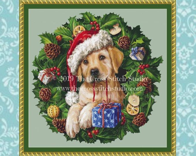 Puppy in Wreath Cross Stitch Pattern