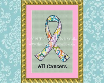 Cancer Cross Stitch Pattern All Cancers Ribbon