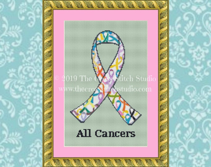 All Cancers Ribbon Cross Stitch Pattern